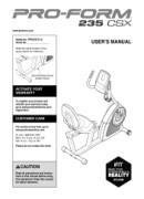 Proform 235 Csx Bike Manual Downloads